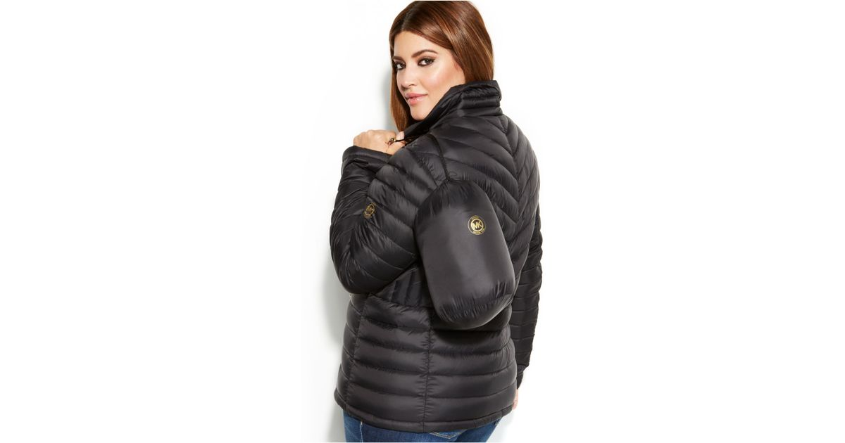 f79e06548a1 Michael Kors Michael Plus Size Packable Quilted Down Puffer Coat in Black -  Lyst