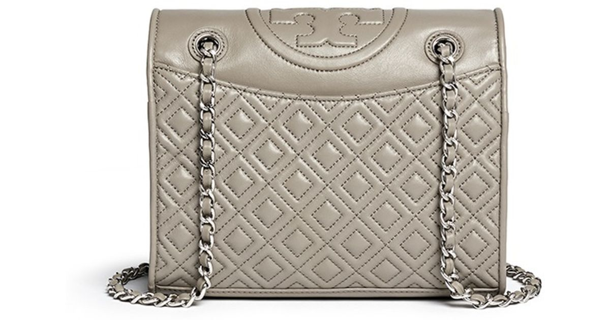 d41c68a44dd Tory Burch 'fleming' Medium Quilted Leather Bag in Gray - Lyst