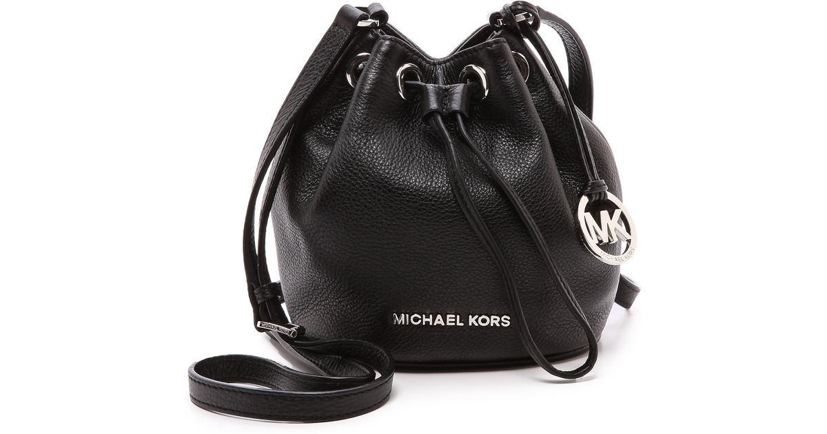 ff3875693e47 ... good lyst michael michael kors jules black soft leather drawstring  crossbody bag in black ce33d 5094e