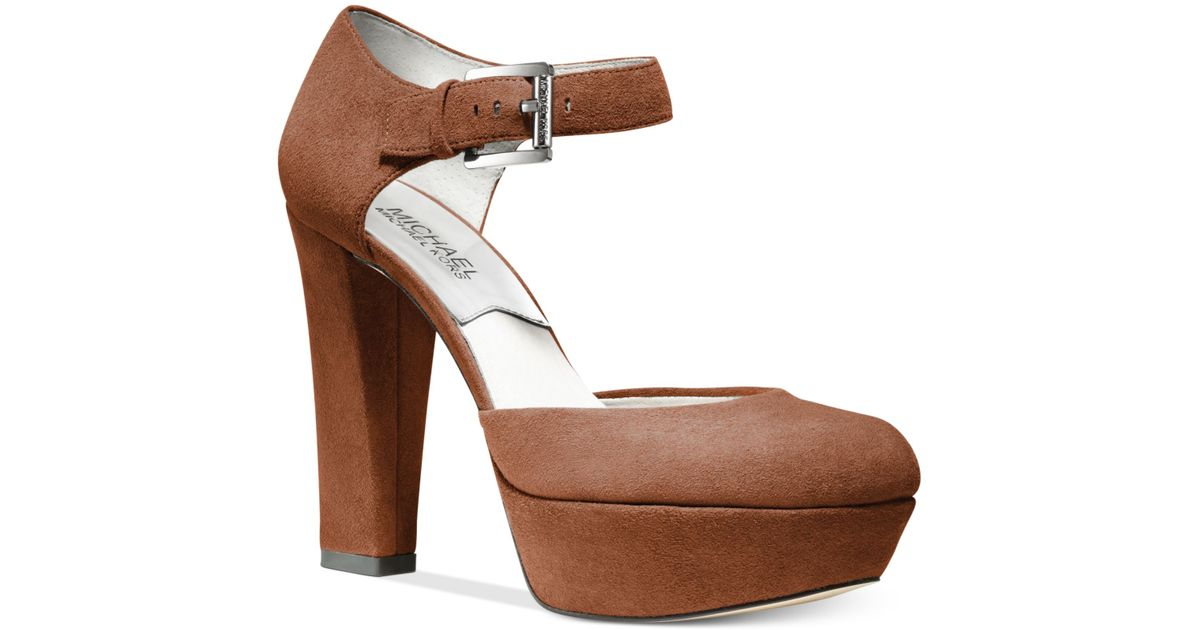 Lyst - Michael kors Haven Ankle Strap Platform Pumps in Brown