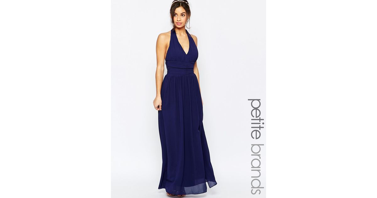 Tfnc london wedding halter chiffon maxi dress navy in for Navy blue maxi dress for wedding