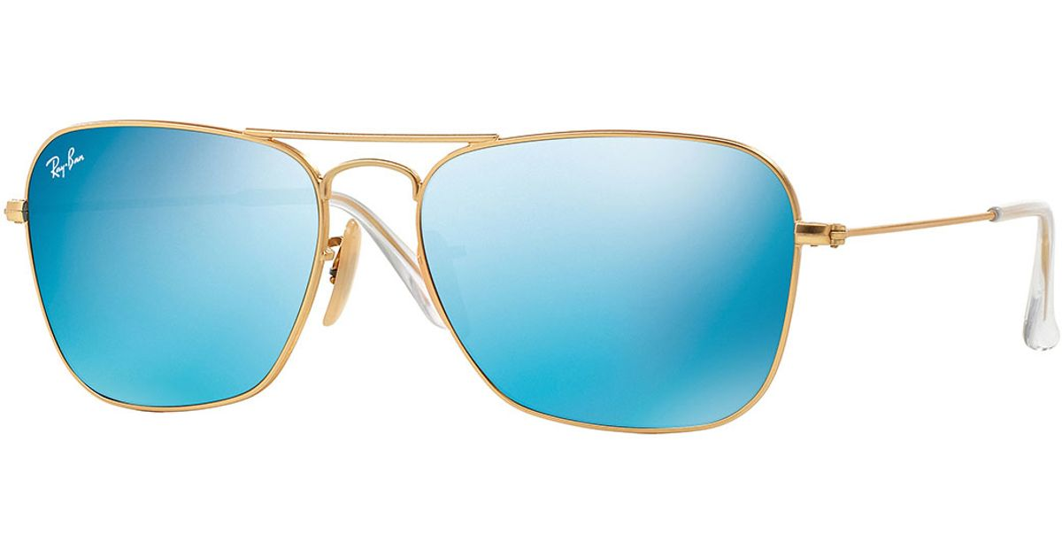 7bb4fa449f Lyst - Ray-Ban Square Ombre-mirrored Aviator Sunglasses in Blue for Men