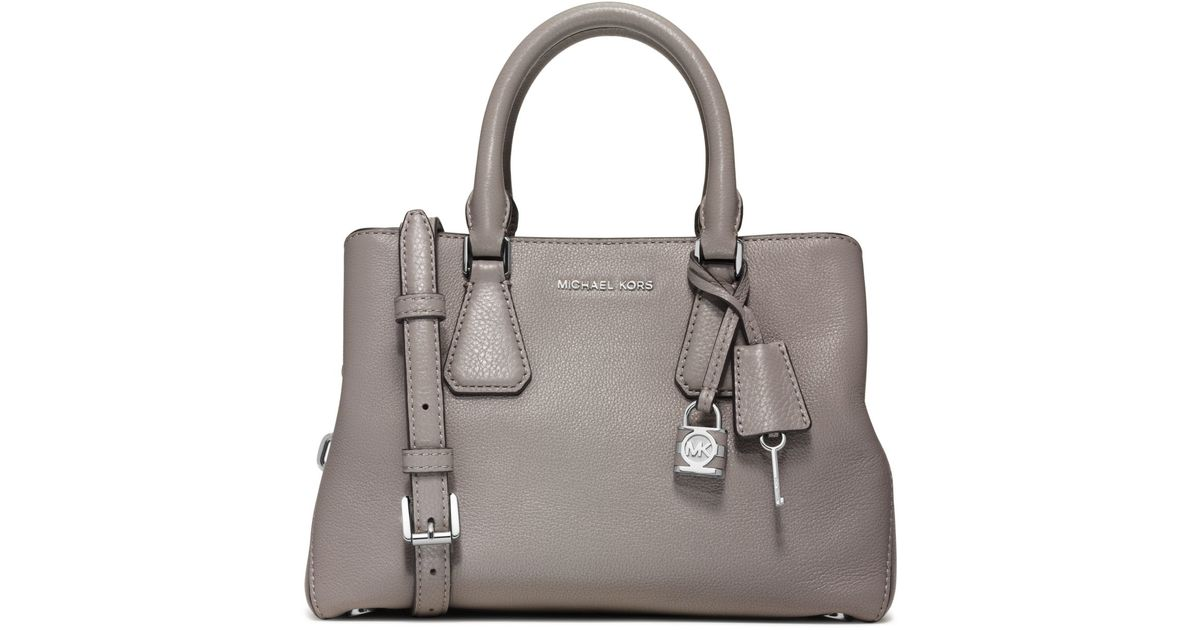 9529241062eed ... Michael kors Camille Small Leather Satchel in Gray Lyst ...