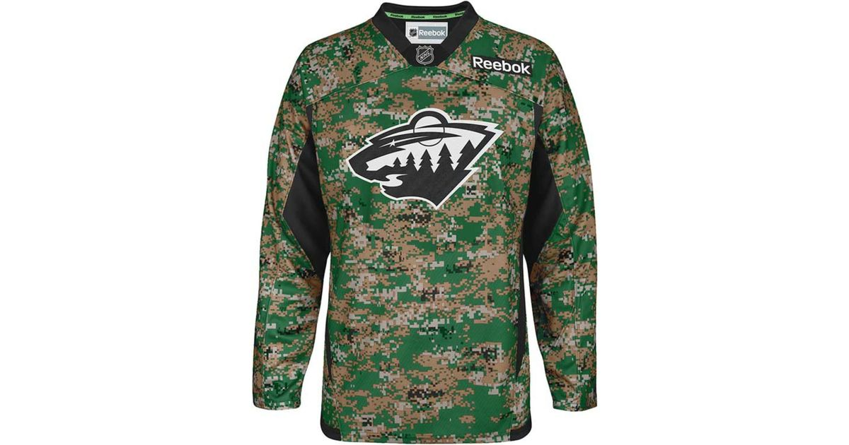 Lyst - Reebok Men s Minnesota Wild Camo Jersey in Green for Men 9030715ee