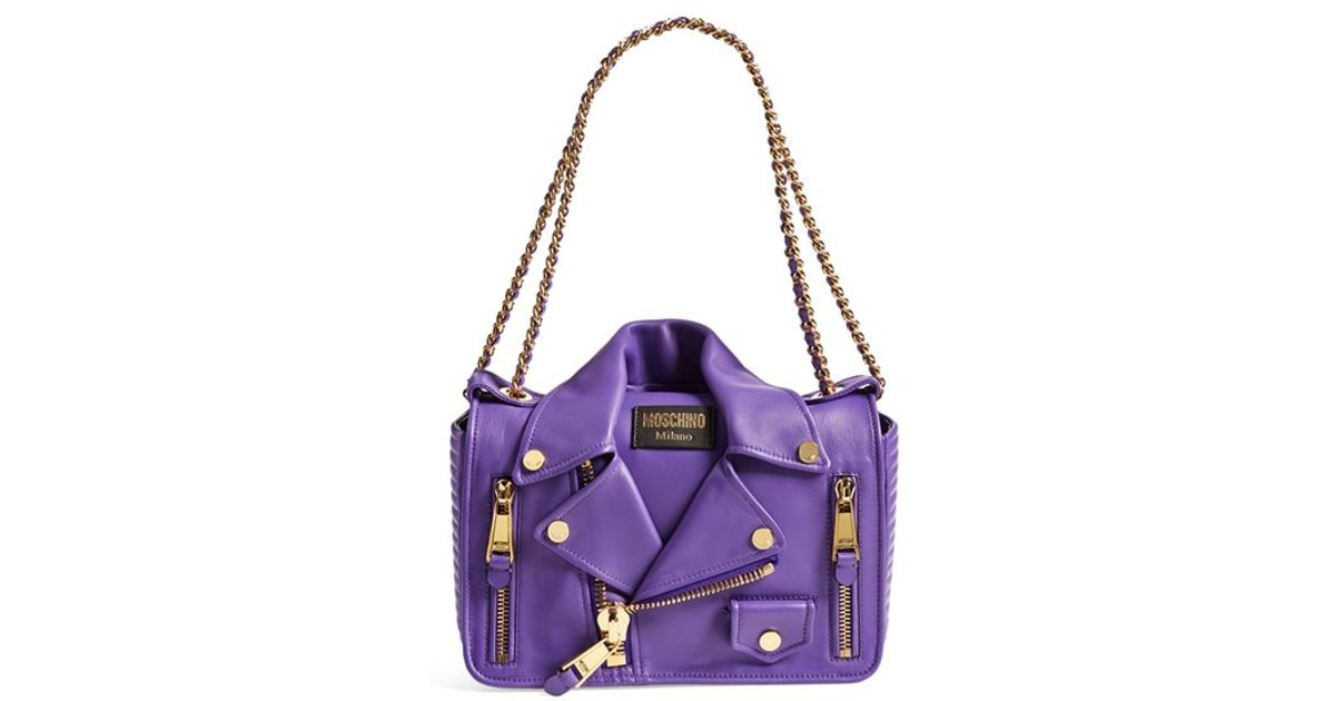Lyst - Moschino  biker Jacket  Shoulder Bag - Purple in Purple