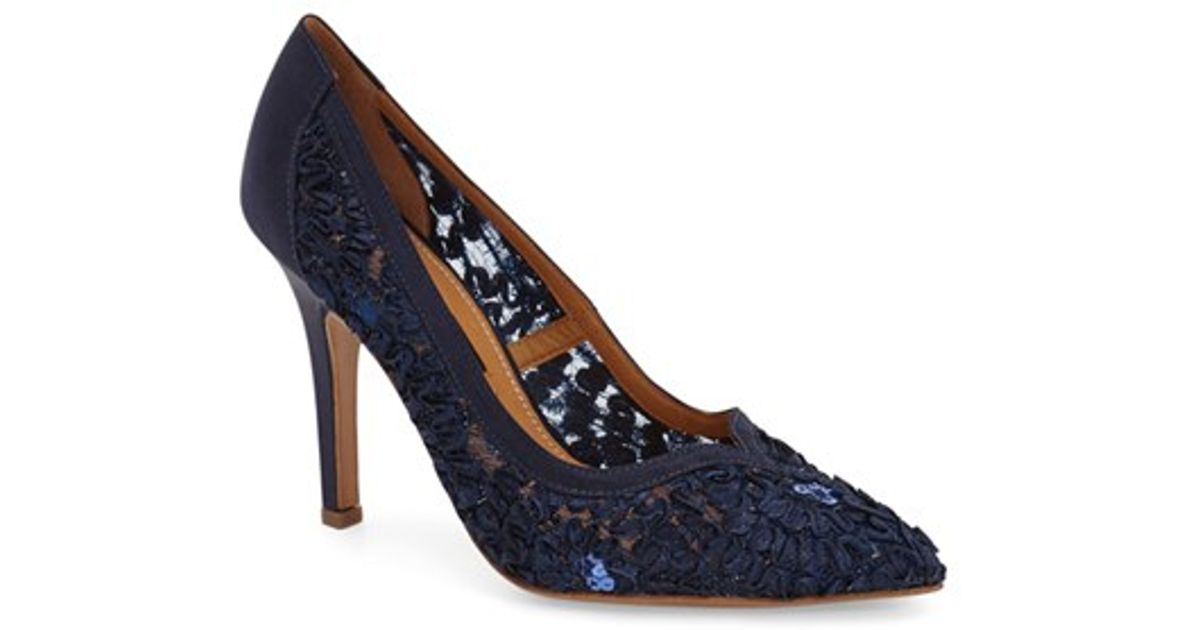Kay unger 'sardana' Satin Ribbon Lace Pointy Toe Pump in ...