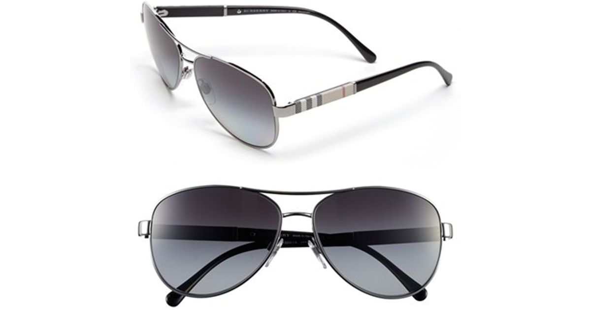 c941db16c007 Lyst - Burberry  london Check  59mm Metal Aviator Polarized Sunglasses -  Gunmetal (nordstrom Exclusive) in Metallic