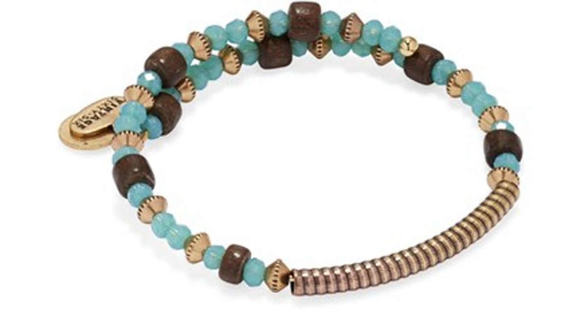 Lyst Alex And Ani Uncharted Beaded Wrap Bracelet Sea Gl Gold In Blue