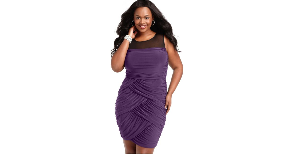 d179e74d578 Lyst - Soprano Plus Size Sleeveless Ruched Draped Dress in Purple