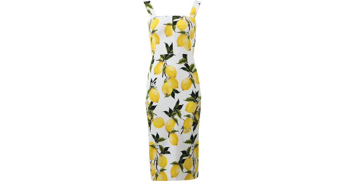 Lyst - Dolce   Gabbana Lemon Print Dress in Yellow 2e64e489f20a9