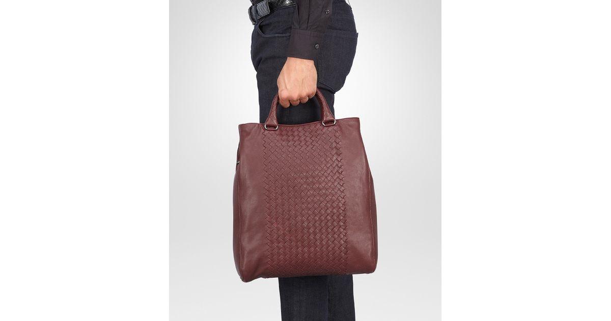 1cac7f1fdabd5 Bottega Veneta Aubergine Nero Intrecciato Washed Nappa Tote Bag in Red for  Men - Lyst