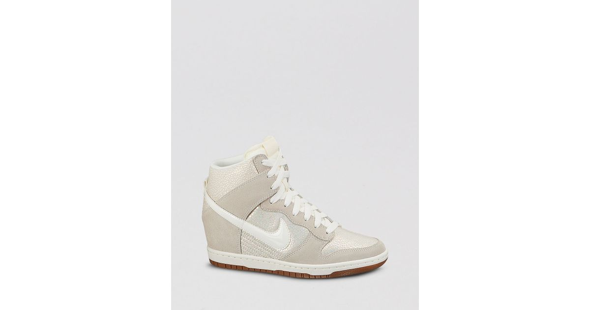 f73f8eff092b Lyst - Nike Lace Up High Top Wedge Sneakers - Women S Dunk Sky Hi Embossed  in White