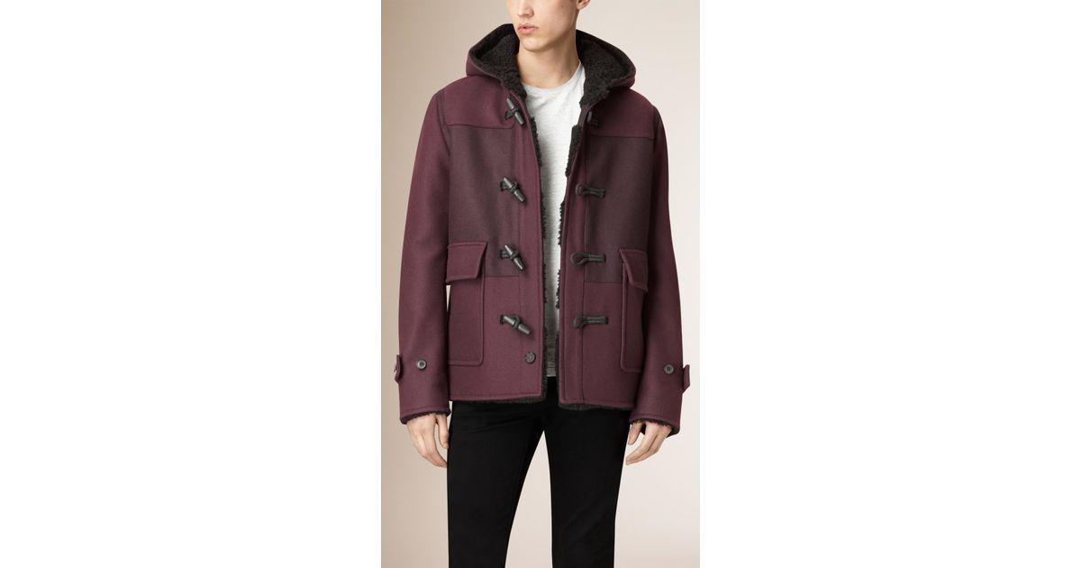 Burberry Shearling-lined Wool Blend Duffle Coat in Purple for Men ...