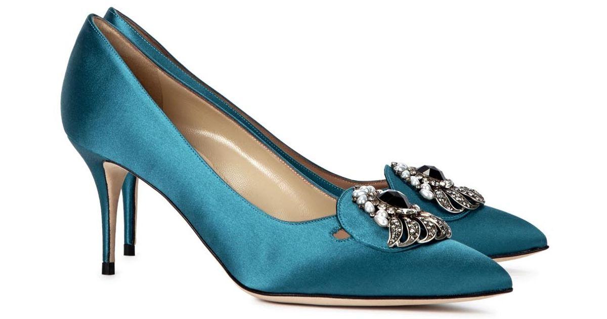 Manolo Blahnik Dela Teal Embellished Satin Pumps in Blue - Lyst b08d808952d6