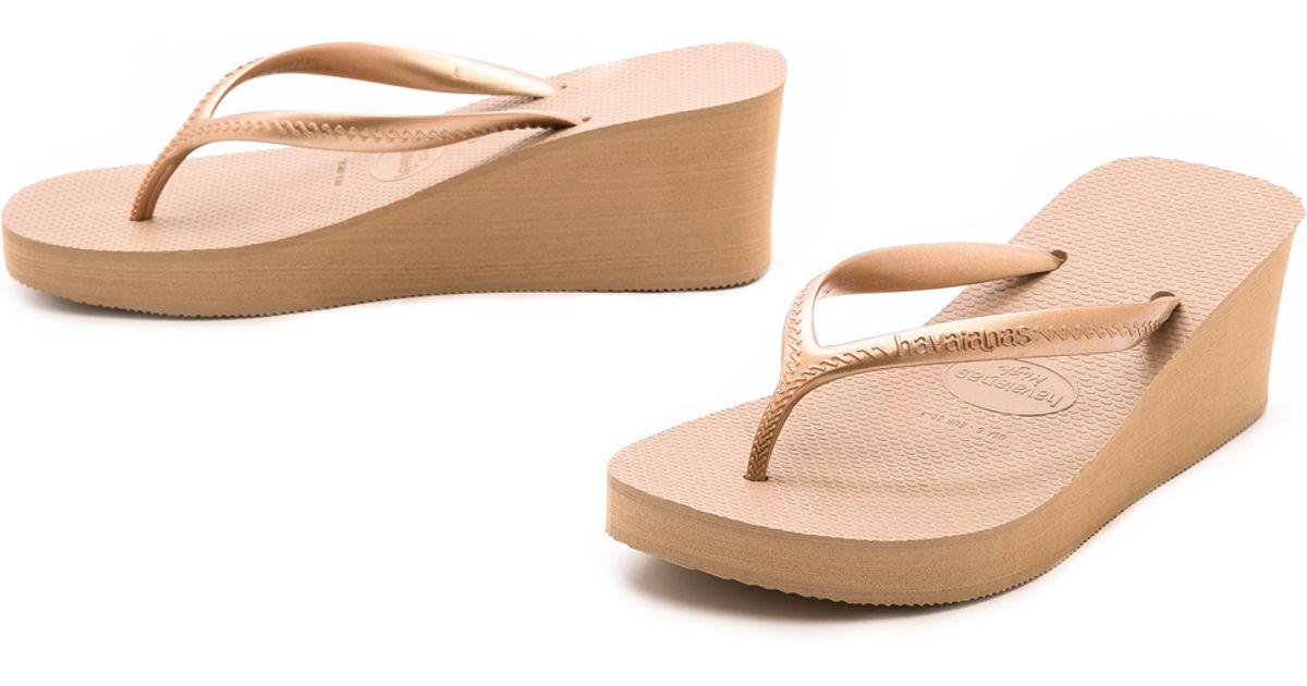1841090d042bcb Lyst - Havaianas High Fashion Wedge Flip Flops in Pink