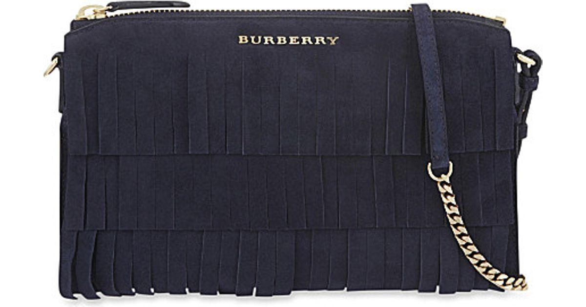 a03d879bddf Burberry Suede Peyton Fringe Cross-body Bag in Blue - Lyst