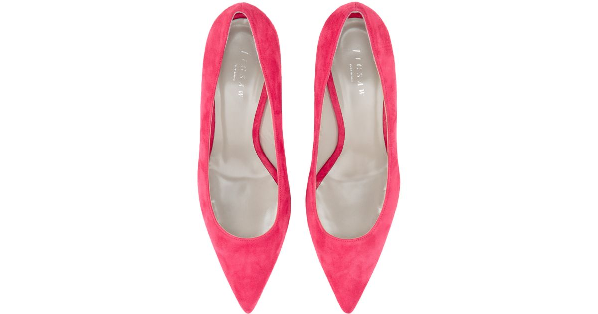 cd36bf8dd7 Jigsaw Milly Suede Pointed Court Shoes in Pink - Lyst
