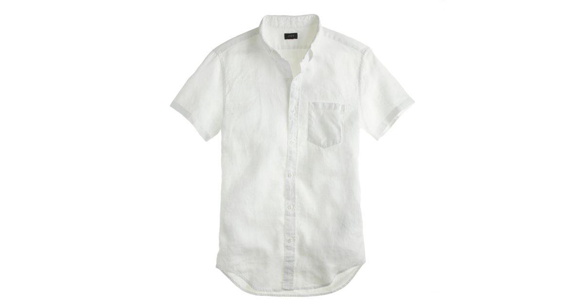 J Crew Short Sleeve Irish Linen Shirt In White For Men Lyst