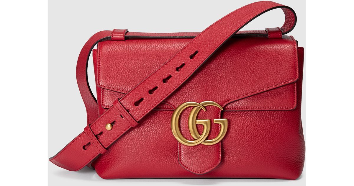 9798a69b5 Gucci Gg Marmont Leather Shoulder Bag in Red - Lyst