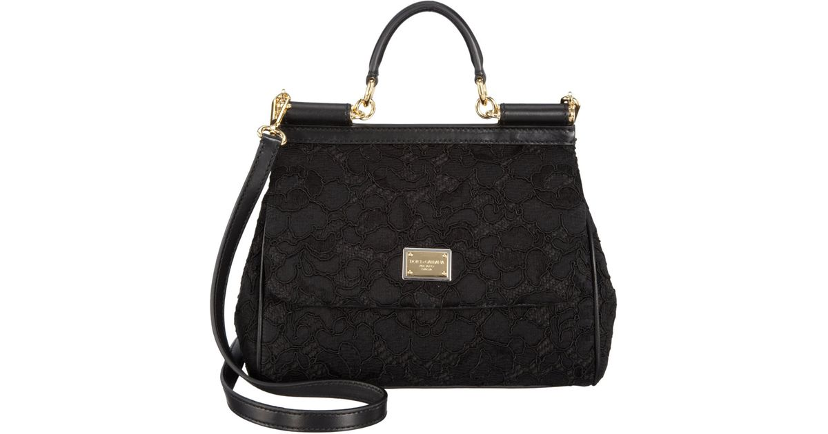 acbb26833b4a Dolce   Gabbana Lace Miss Sicily Bag in Black - Lyst