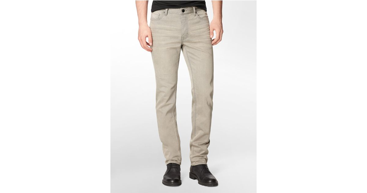 calvin klein jeans slim straight leg faded neutral jeans. Black Bedroom Furniture Sets. Home Design Ideas
