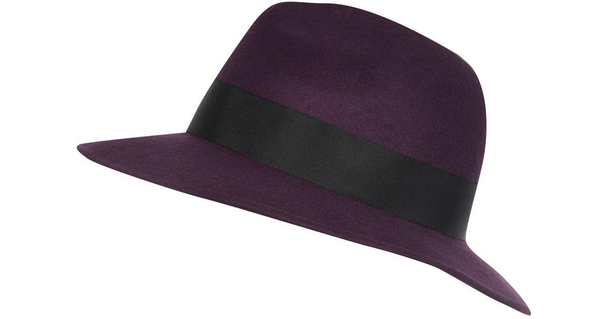 5e31da550cd7d River Island Dark Purple Fedora Hat in Purple - Lyst