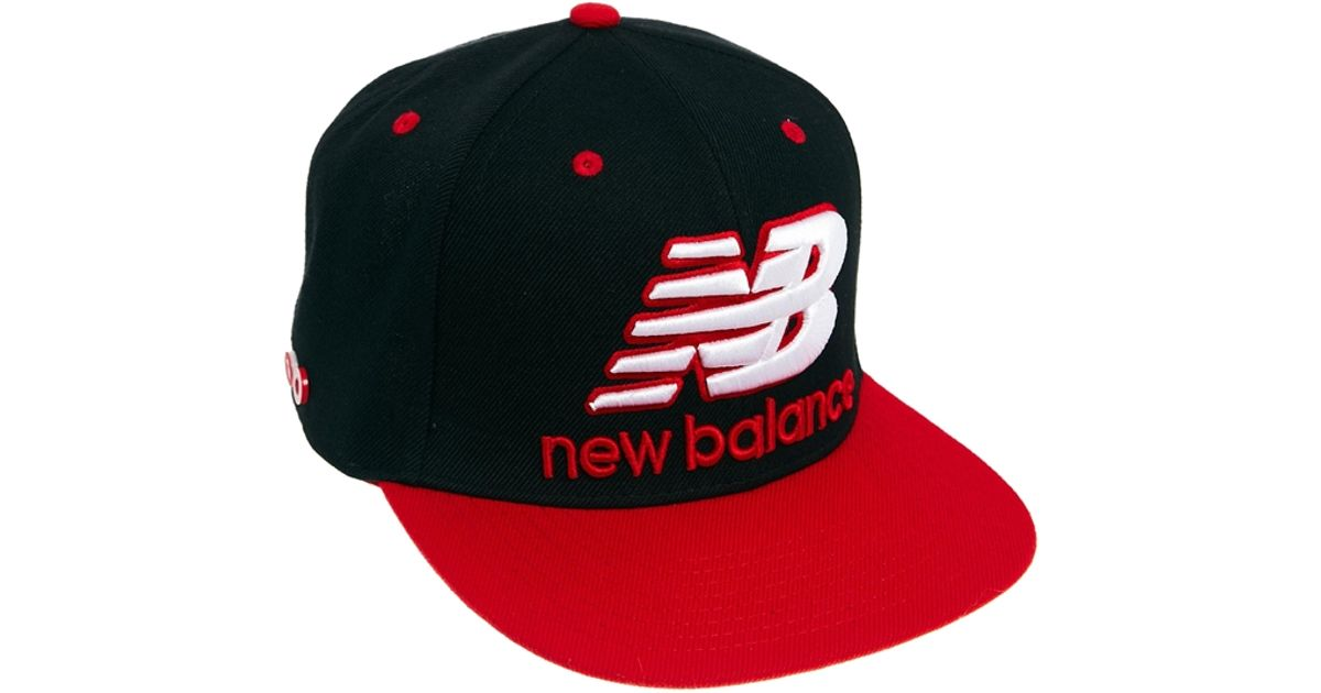 294b39f452b Lyst - New Balance Courtside Snapback Cap in Black in Red