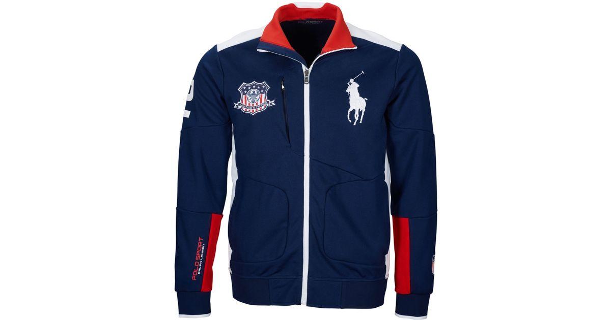 37f8ebb77 Polo Ralph Lauren Polo Sport Usa Full-zip Track Jacket in Blue for Men -  Lyst