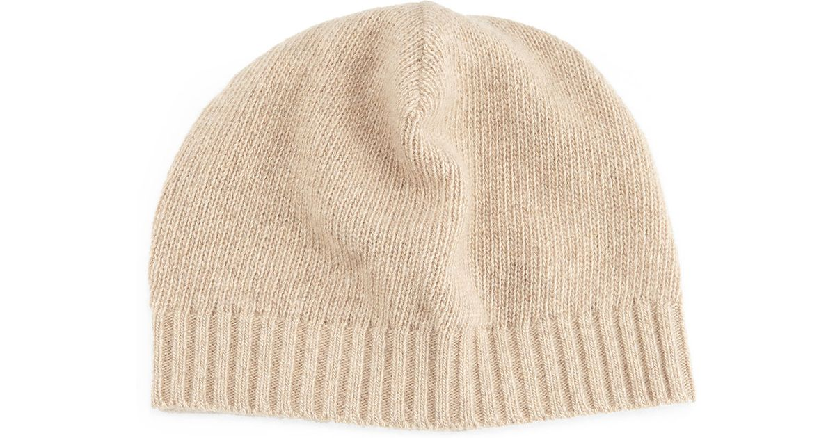 0d899cfea6a Lyst - Portolano Cashmere Basic Knit Beanie Hat in Natural