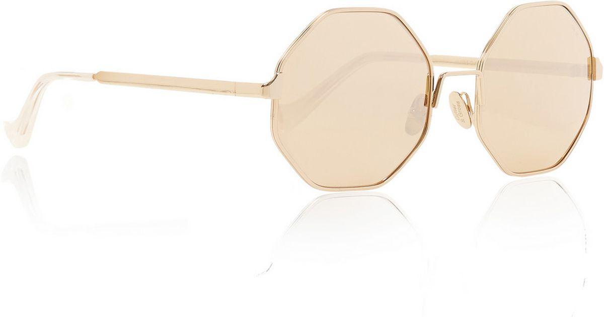 9be0a41ad3e4 Cutler & Gross Octagon-Frame Metal Mirrored Sunglasses in Metallic - Lyst