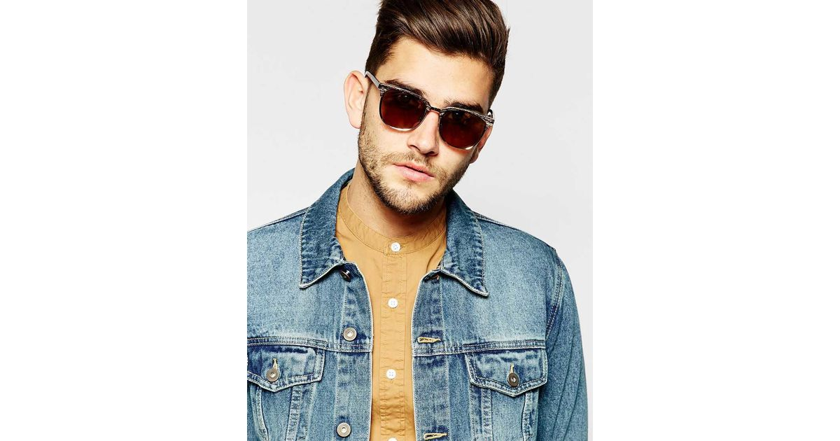 52e98f8bf00 Lyst - ASOS Retro Sunglasses With Wood Effect Top in Brown for Men