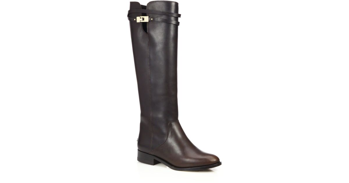 jimmy choo hyson knee high leather boots in brown lyst