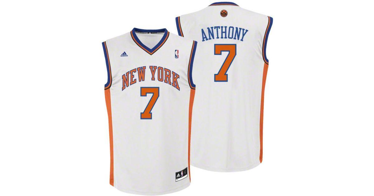753d90dcdccd8 Lyst - adidas Kids  Carmelo Anthony New York Knicks Revolution 30 Jersey in  White for Men