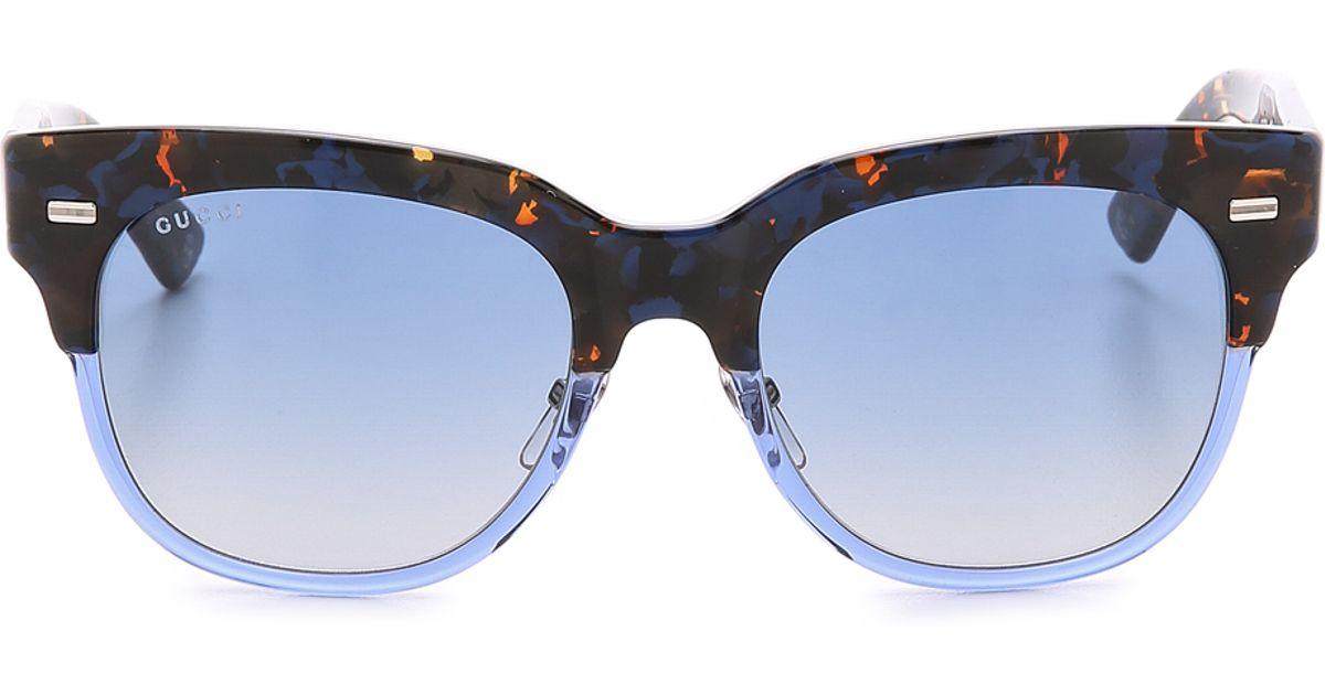 c579fabda0bd Gucci Spotted Top Sunglasses in Blue - Lyst