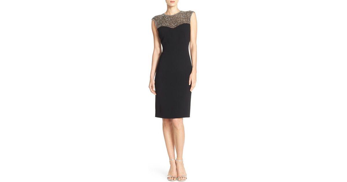 Stretch Crepe Illusion Dress Pamella Roland Outlet Big Sale Professional For Sale Enjoy Cheap Online Discount Order dwkr1I21c