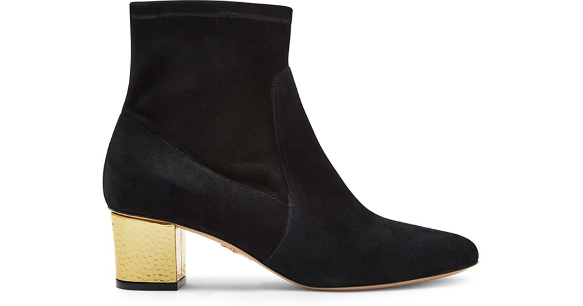 Lyst Charlotte Olympia Winnie Black Suede Gold Heeled Boots In Black
