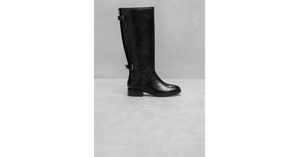 e22e96cb4ef9   Other Stories High Shaft Leather Boots in Black - Lyst