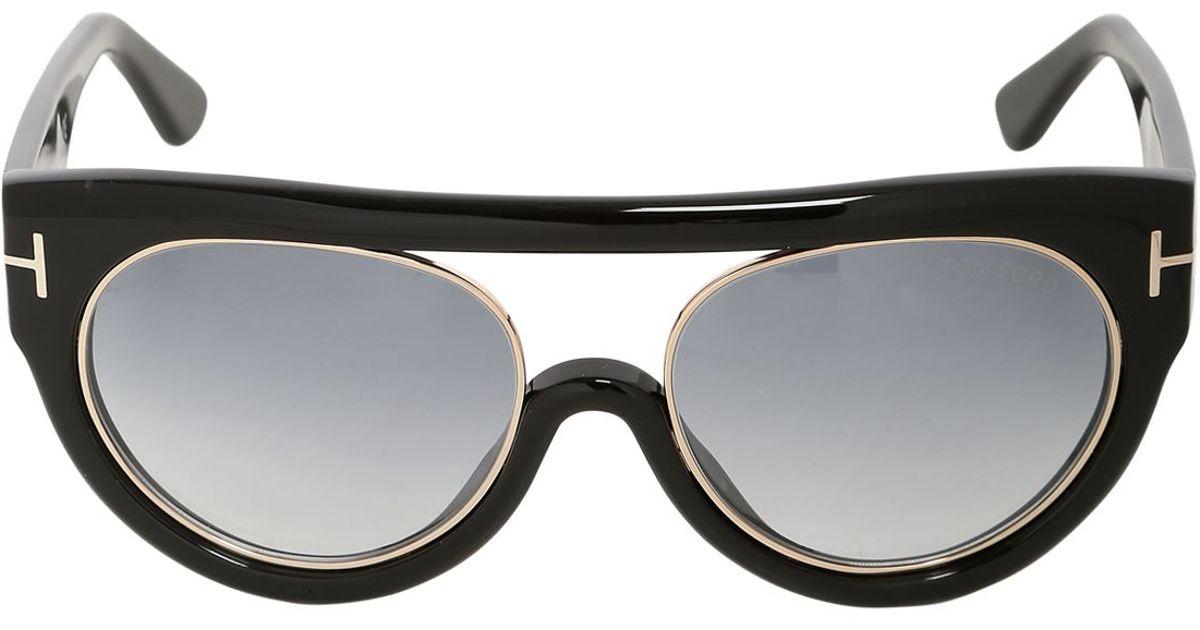 626e9107c53dd Tom Ford Chiara Aviator Shiny Acetate Sunglasses in Black - Lyst