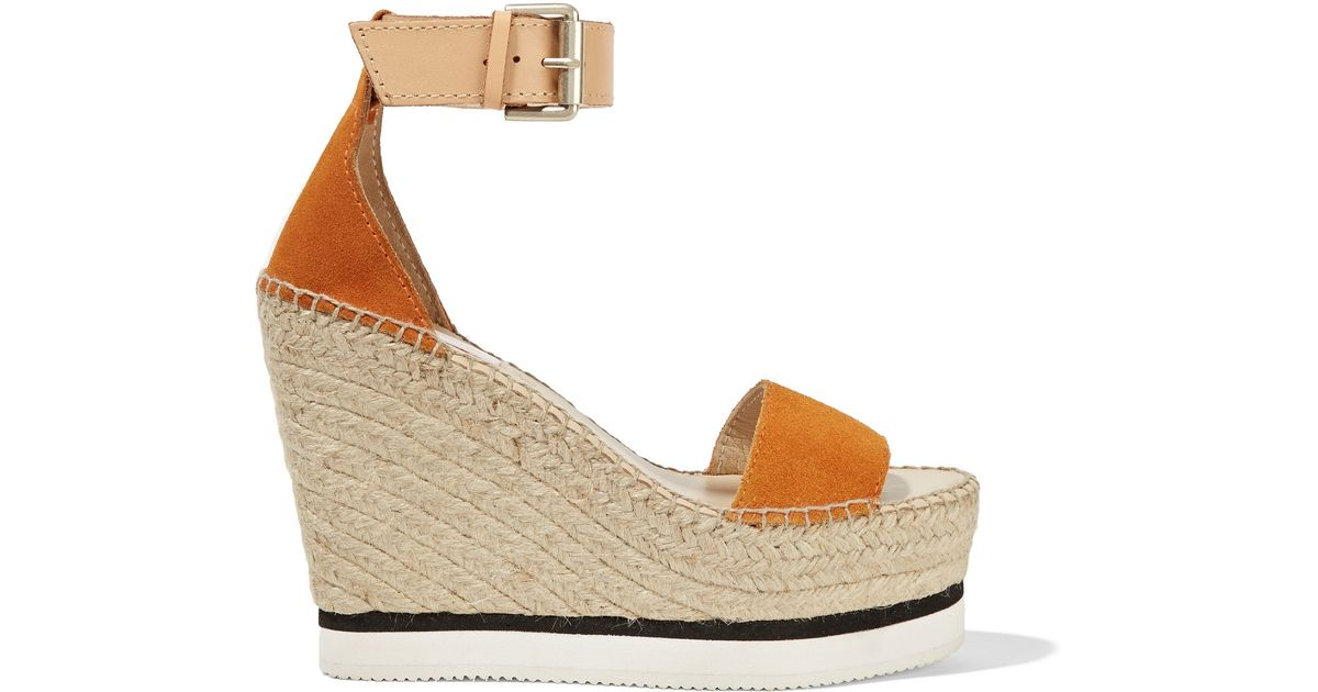 817233cfac76 Lyst - See By Chloé See By Chloé Suede And Leather Espadrille Wedge Sandals  in Orange