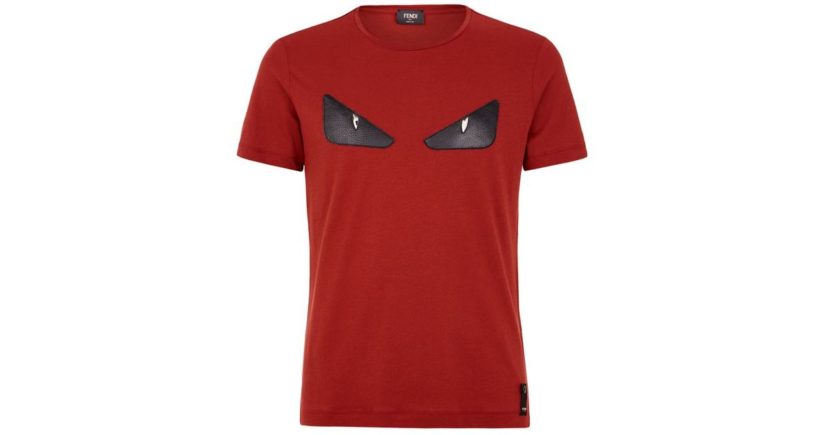 4db966c46 Fendi Studded Monster Eyes T-shirt in Red for Men - Lyst