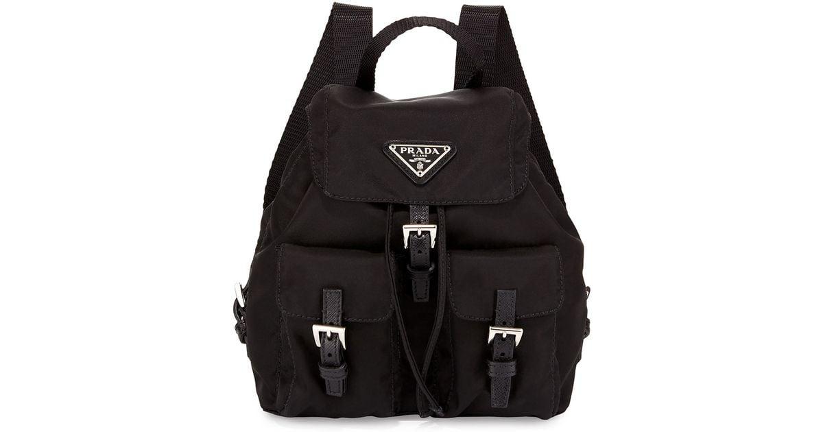 6732cf73a2e1 Prada Vela Nylon Crossbody Backpack in Black - Lyst