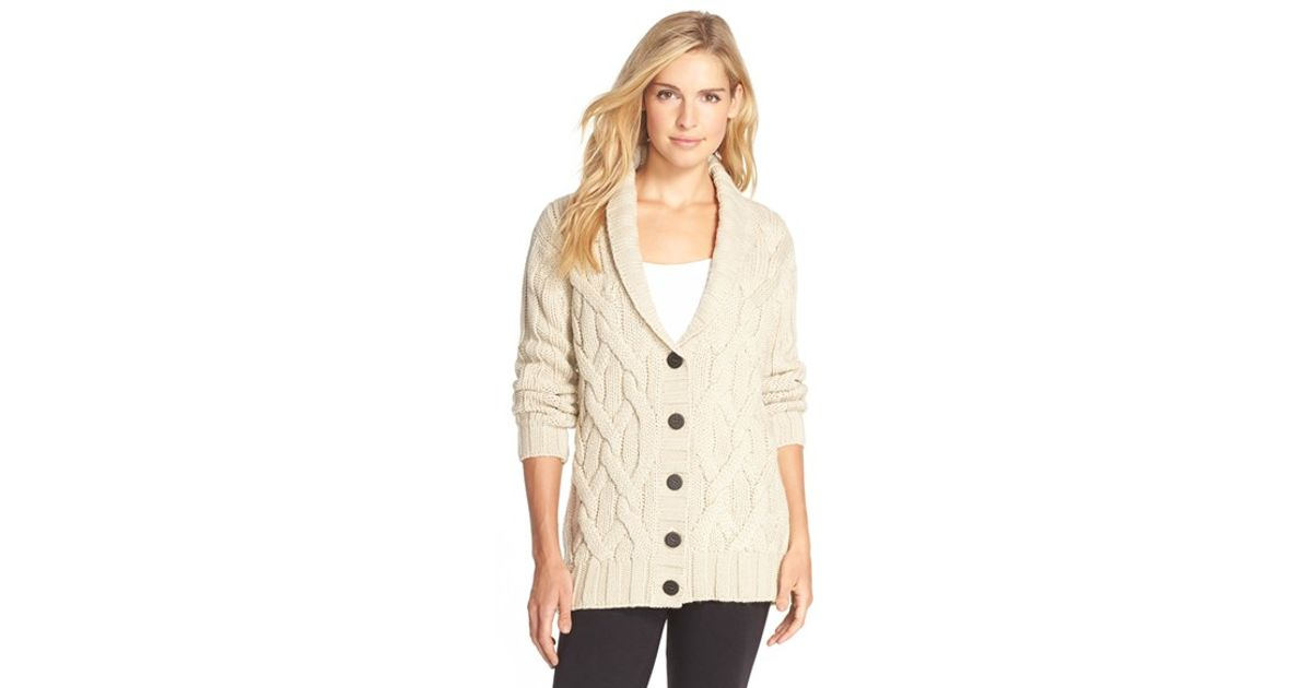 Lyst - UGG  margie  Cable Knit Shawl Collar Cardigan in Natural 6bf62d211