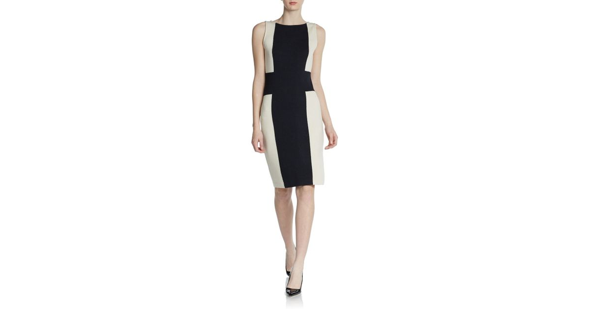 405177ac266 Lyst - St. John Santana Knit Color-block Dress in Black