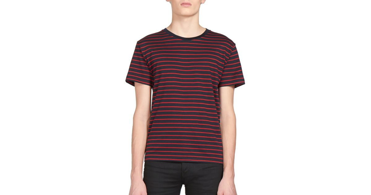 ada427f1224a Lyst - Saint Laurent Striped T-shirt in Red for Men