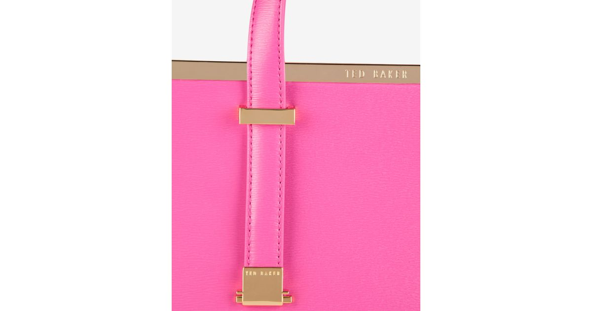 4a8e712e6432de Ted Baker Small Crosshatch Leather Tote Bag in Pink - Lyst