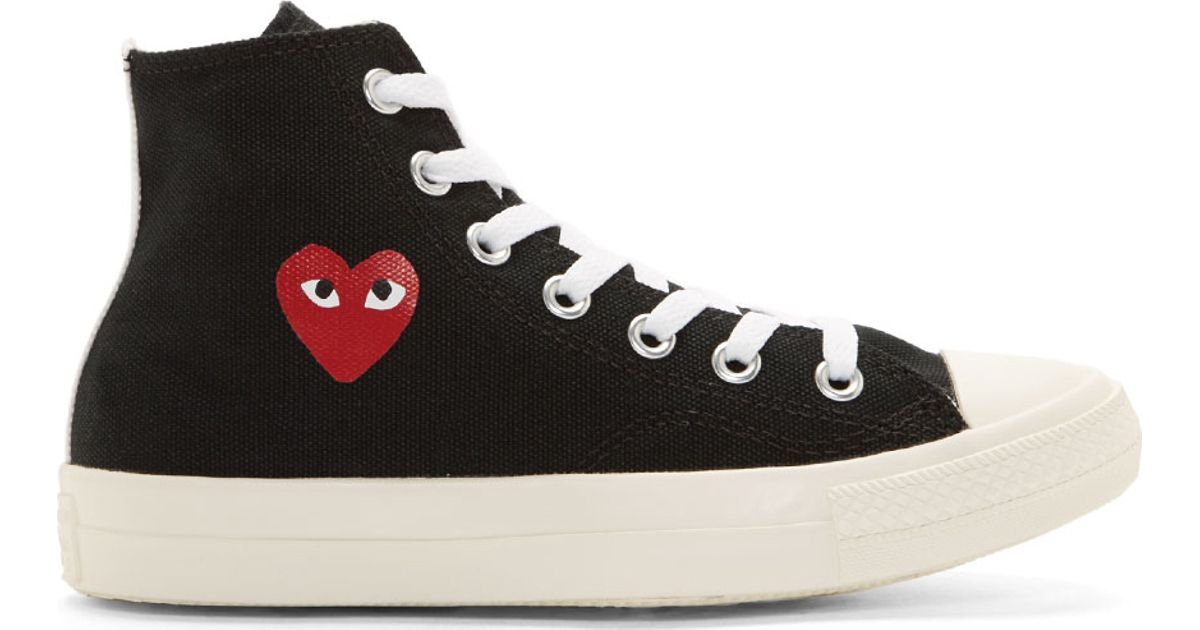 Lyst - Play Comme des Garçons Black Heart Logo Converse Edition High top  Sneakers in Black 5a4ab82db