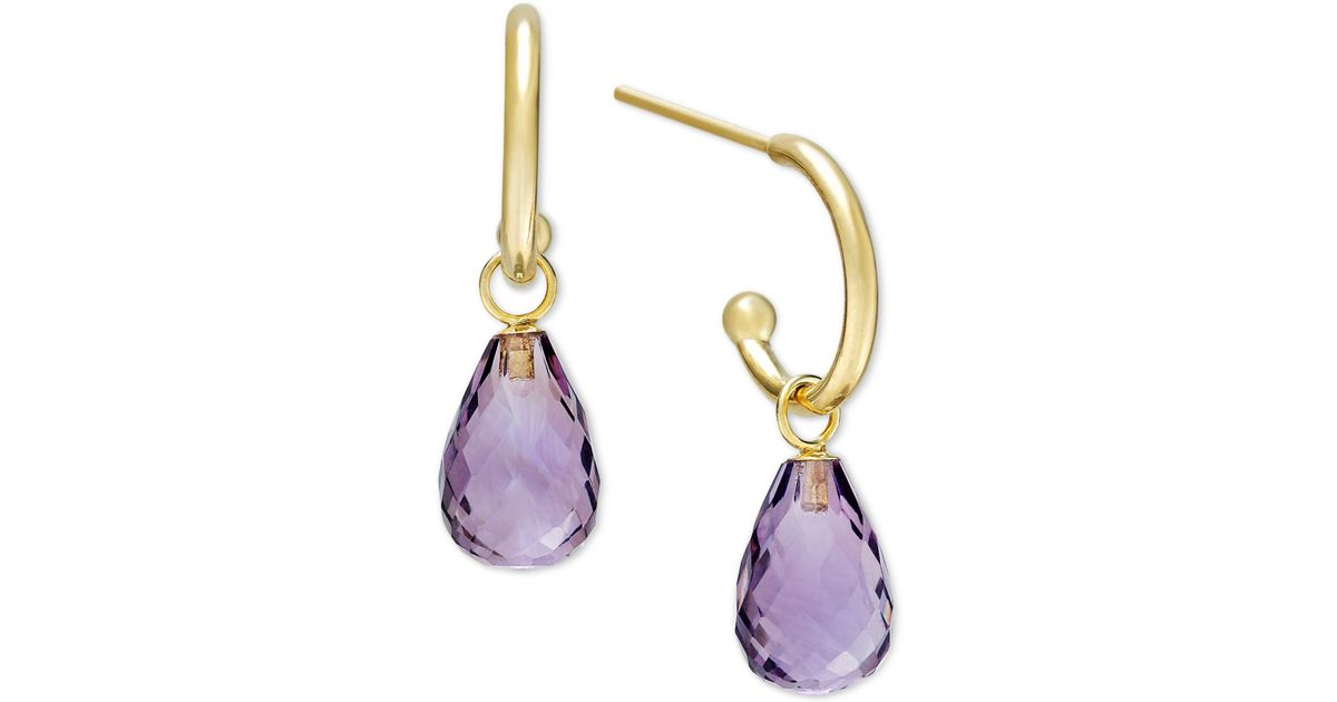 macy s amethyst earrings macy s amethyst hoop earrings in 14k gold 6 1 2 ct t w 4833