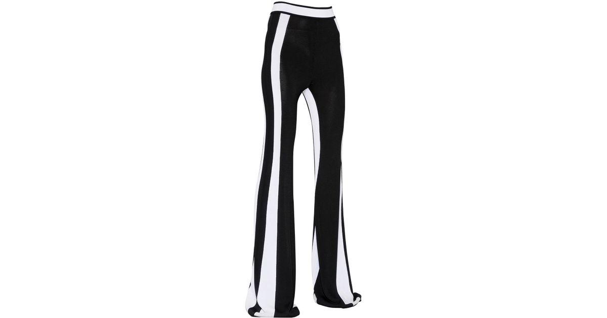 aa72e7cd41aa Balmain High Waisted Flared Viscose Knit Pants in Black - Lyst