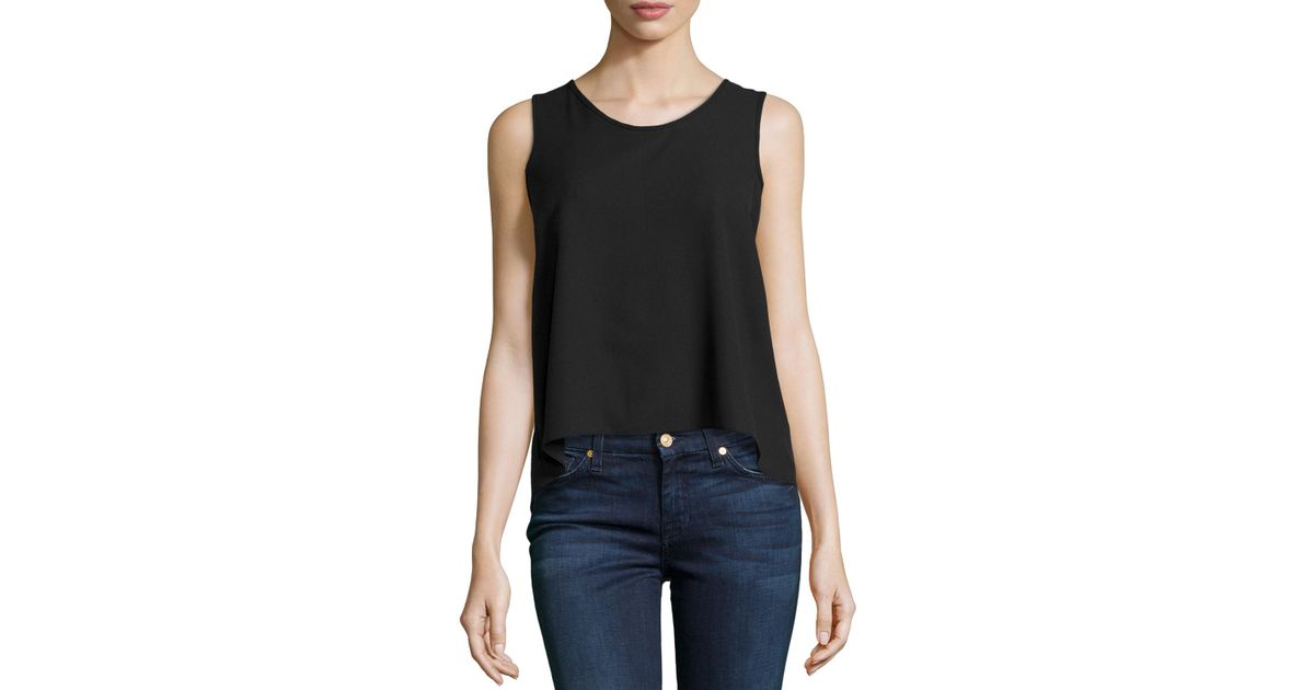 e80d5f93ede7c Lyst - Casual Couture Sleeveless Chiffon Blouse W  Pleated Back in Black