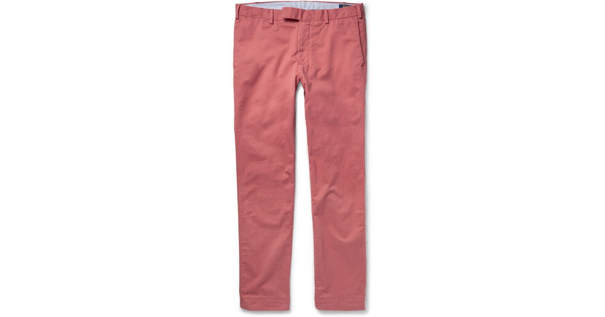 ede5e4df046d6 Polo Ralph Lauren Slim-fit Stretch-cotton Twill Chinos in Pink for Men -  Lyst